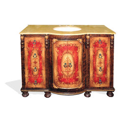 King Lima Vanity, Fresco Brown Distressed W/ Fresco Red and Scrolls W/ Marble - King Lima Vanity, Fresco Brown Distressed W/ Fresco Red and Scrolls W/ Marble Top