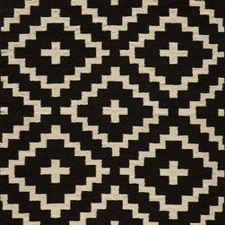 Laguna LG-04 Black Rug - 2'x3' - Geometric patterns, vibrant colors and chic simplicity all collaborate to make the flat-weave Dhurry collection, Laguna. Made in India of 100% wool, Laguna utilizes a vibrant color palette that plays off geometric patterns often found in paving stones, basket weaves and nature.