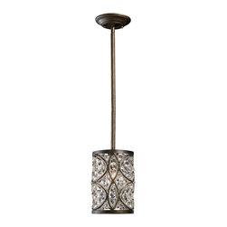"""Elk Lighting - Elk Lighting 11285/1 Amherst Transitional Mini Crystal Pendant Light - This collection showcases sparkling polished crystal weaved into an intricate wrought iron frame. The modern drum shape updates an otherwise traditional style while a rich, Antique Bronze finished frame provides the necessary contrast to allow the crystal elements to be fully recognized.(1) 6"""" & (2) 12"""" extension rods w/ hang straight included."""