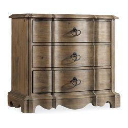 Hooker Furniture - Corsica Three Drawer Nightstand - Light - White glove, in-home delivery included!  Like the Mediterranean island for which it is named, Corsica is a melting pot of timeless design influences with a sun washed ambience and casual attitude.  Gracefully shaped architectural forms of Italian, French and Belgian origin are accentuated by a wire brushed artisan finish with a reclaimed character.  Three drawers, felt lined top drawer, cedar lined bottom drawer, touch lighting.