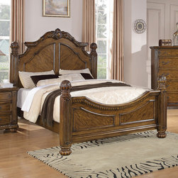 "Wildon Home � - Backbay Four Poster Bed - Center your master suite with sophistication by welcoming this bed from the Backbay collection into your home. This grand headboard and footboard bed boasts beautiful, classic styling with its shapely headboard, receded pillar posts, and intricately carved details finished a beautiful oak. Drawers Features French dovetail in front and English in the back. Features: -Transitional style.-Box spring or foundation not required.-Finish: Oak.-Backbay collection.-Distressed: No.-Collection: Backbay.Dimensions: -King Dimensions: 72""H x 98""W x 84""D.-California King Dimensions: 72""H x 94""W x 84""D.-Overall Product Weight: 111.98 lbs."