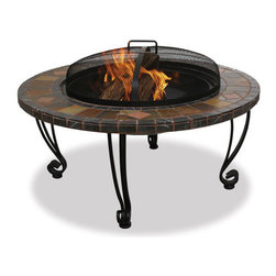 Uniflame - Uniflame WAD820SP 34 Inch Wide Outdoor Fireplace w/ Slate Mantel w/ Copper Accen - 34 Inch Wide Outdoor Fireplace w/ Slate Mantel w/ Copper Accents belongs to Outdoor Living Collection by Uniflame