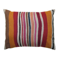 "Kim Parker Inc. - Cantaloupe Stripe Pillow, 16""x20"", Without Insert - Painterly lines of hand-embroidered wool stripe this cozy pillow, providing interest and a color palette that's worthy of building a room around. Place one in the middle of a bed or sofa, or pile several on seats around a living room to punctuate the space."