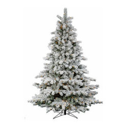 9.5 ft. x 72 in. Flocked Aspen Clear Mini Lights Artifical Chrstimas Trees - 9.5 ft. x 72 in. Artificial Christmas Tree