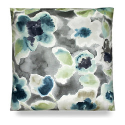 "Florinda Pillow - Aloe - 24"" - Impressive and striking with its floral pattern, the Florinda Pillow in aloe is an ideal pick for a nautical or coastal theme when a bold look is needed in a room that has fair amounts of white. Perfect for a guest bedroom chair or a beautiful sofa, switching out accent pillows is a great way to update the look of a space without redecorating the entire interior."