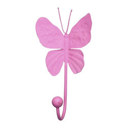 "Jubilee Collection - 4"" Butterfly Hook - Bright Pink - Material: metal. 4 x 7 in."