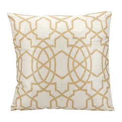 Nourison - Ivory & Gold Throw Pillow - Fashion meets function with this stylish throw pillow, highlighted by a subtle yet striking design and comfy construction.   100% rayon Spot clean Imported