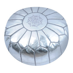 Moroccan Silver Metallic Ski Leather Pouf - Spice up your home with an exotic Moroccan leather pouf. Hand stitched by artisans, this durable pouf is topped with a traditional design and comes in a variety of styles and colors. Use it as footstool, extra seating or a fun addition to your playroom. It'll become a great conversation piece — and functional.