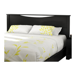 "South Shore - South Shore Step One King Headboard in Pure Black - South Shore - Headboards - 3107290 - European-inspired, this king headboard (78"") is suitable for a 78"" king bed. Its geometric lines and Pure Black finish will complement your bedroom with an air of elegance."