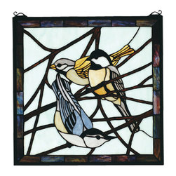 """Meyda - 18""""W X 18""""H Early Morning Visitors Stained Glass Window - Bark brown branches across a azure sky make apleasant repose for these often seen backyard bird,early morning visitors. A meyda original design,handcrafted utilizing the copperfoil constructionprocess and stained art glass. The artwork is set in asolid brass frame with included mounting bracket andjack chain ."""