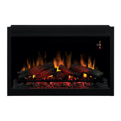 """Dimplex - ClassicFlame 36-Inch 120V Traditional Builders Box - 36EB110-GRT - The Classic Flame 36"""" Built-In Fireplace 36EB110-GRT can be plugged directly into a 120V 3-prong outlet or hardwired. The 36EB110-GRT electric firebox features an automatic on screen indicator that can be controlled by remote control or manually. This built in electric fire place can be installed in interior or exterior walls or corners before or after drywall has been completed. Classic Flame 36"""" Built-In Fireplaces have a zero clearance design, multi-function remote control and 2 year warranty."""