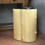 Pfeifer Studio Collection - This elegant side table is handmade in New Mexico, USA using traditional wood beam construction found in adobe homes, while the contrasting wood finishes and minimal lines update it with a modern twist.