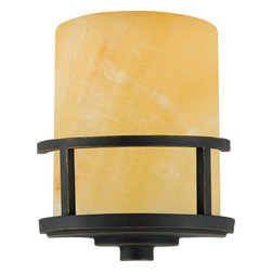 Quoizel - Quoizel Imperial Bronze Sconces - SKU: KY8801IB - A rustic contemporary look that gives a dramatic flair to your home, this design serves as a piece of art in itself. It features gorgeous butterscotch onyx shades that emit a romantic glow, and sweeping wrought iron metal bands that add visual interest. Onyx is a mottled quartz that takes a high polish. As the favorite medium for Greek and Roman sculptors and architects, onyx has become a cultural symbol of tradition and refined taste.