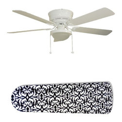 """Paris Elegance 52"""" Ceiling Fan with Lamp - This is a brand new 52-inch 5-blade ceiling fan with a dome light kit and designer blades and will be shipped in original box. It is white with a flushmount design and is adjustable for downrods if needed. This fan features 3-speed reversible airflow for energy efficiency all year long. Comes with Light kit and complete installation/assembly instructions. The blades are easy to clean using a damp-not wet cloth. The design is on one side only/opposite side is bleached oak. Made using environmentally friendly, non-toxic products. This is not a licensed product, but is made with fully licensed products. Note: Fan comes with custom blades only."""