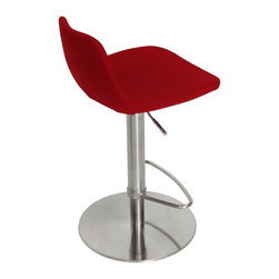 """Pera Piston Swivel Stool by sohoConcept - Pera Piston is a unique stool with a comfortable upholstered seat and backrest on an adjustable gas piston base which swivels and also adjusts easily from a counter height to a bar height with a lever that activates the gas piston mechanism. The solid steel round base is available in chrome or stainless steel. The seat has a steel structure with """"S"""" shape springs for extra flexibility and strength. This steel frame molded by injecting polyurethane foam. Pera seat is upholstered with a removable velcro enclosed leather, PPM or wool fabric slip cover. The stool is suitable for both residential and commercial use."""