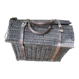French Wicker Basket - A primitive, rustic, old and fragile wicker country basket. Circa 1940s, It has worn leather handles and straps. The lids are still in working order and the leather straps are intact.