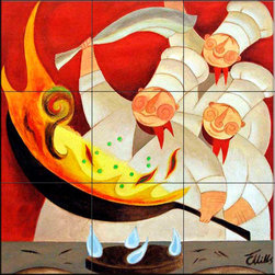 The Tile Mural Store (USA) - Tile Mural -  The Heat  - Kitchen Backsplash Ideas - This beautiful artwork by Chris Mills has been digitally reproduced for tiles and depicts three Chefs cooking with flames.    Our decorative tiles of Chefs are perfect to use for your kitchen backsplash tile project. A chef tile mural adds whimsy and fun to your kitchen wall tile area and makes a wonderful kitchen backsplash idea. Pictures of Chefs on tiles is timeless and these chef decorative tiles blend with any decor. Your kitchen will come to life with a tile mural featuring a chef.