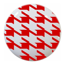 Carolina Hardware and Decor, LLC - Red Houndstooth Print Ceramic Knob - New 1 1/2 inch ceramic cabinet, drawer, or furniture knob with mounting hardware included. Also works great in a bathroom or on bi-fold closet doors (may require longer screws).  Item can be wiped clean with a soft damp cloth.  Great addition and nice finishing touch to any room.