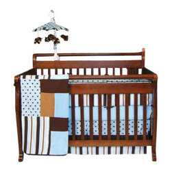 Trend Lab - Blue Max Crib Bedding Set - The Blue Max 3 Piece Crib Bedding Set by Trend Lab beautifully combines classic  polka dots and variegated stripes in a stylish contemporary color  palette. Sweet sky blue is mixed with caramel and chocolate brown for a  fashionable nursery statement.  Delight your little one with this  luxurious combination of soft fabrics including a linen blend, cozy  cotton, snuggly velour, and luscious ultrasuede.  Set includes quilt,  crib sheet and skirt.
