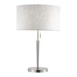 Adesso - Adesso Hayworth Table Lamp - Elegant satin steel table lamp have a beautiful white textured fabric drum shade. The lower pole flares out: it meets a thinner pole that extends to the socket. Has an on/off steel-accented pull chain. 150 Watt incandescent or equivalent CFL bulb. 22 in Height, 7 in Round base. Pole: 13.5 in Height (9.75 in flared lower, 3.75 in thin upper). Shade: 8.25 in Height, 15 in Diameter.