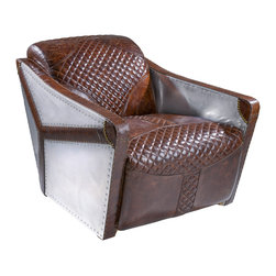 Great Deal Furniture - Alton Brown Leather Aluminum Sheath Club Chair - If you're looking for a unique furniture piece, the Alton is your club chair. Upholstered in top grain distressed brown leather, its unique features include aluminum sheath accents, screw studs along the perimeters and patterned with diamond crossed stitching on the seat and backrests. You'll be sure to receive a lot of attention for this piece.