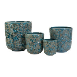 """IMAX - Paisley Blue Planters - Set of 4 - This set of four ceramic Paisley blue planters add color and style to any indoor plants.  Item Dimensions: (10.25-8.5-6.75-4.75""""h x 9.5-7.75-6-4.5""""w x 9.5-7.75-6-4.5"""")"""