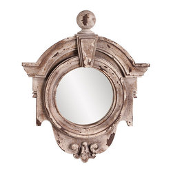 """Frontgate - Winthrop Mirror - Crafted of durable resin. Inner dimensions measure 8"""" dia.. Wipe clean with a soft cloth. Endless possibilities present themselves with the distressed-looking Winthrop Mirror. The rustic, faux stone frame evokes vintage charm while the unique design and intricate detailing piques interest.  .  .  ."""