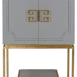 Worlds Away Anna Bar Cabinet , Grey - Worlds Away Anna Bar Cabinet Grey Lacquer