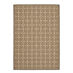 """Safavieh - Courtyard Brown Area Rug CY6564-22 - 2'7"""" x 5' - Safavieh takes classic beauty outside of the home with the launch of their Courtyard Collection. Made in Belgium with enhanced polypropylene for extra durability, these rugs are suitable for anywhere inside or outside of the house. To achieve more intricate and elaborate details in the designs, Safavieh used a specially-developed sisal weave."""