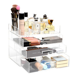 """GLAMbox - Glamluxe Makeup Box, 8"""" X 10"""", Full Lid - The GLAMbox Makeup Beauty Organizer and Display is a must-have for makeup, skincare, and/or any beauty product. This sleek design provides a luxurious way to stay organized, minimize clutter, and simplify your routine. This organizer is the FULL lid version, this version closes and opens all the way.  This gives you the option of keeping the dust out and lid closed OR keep open at all times in order to have easy access to your daily products. You can get creative and organize your GLAMbox your own way. It's a wonderful way to see everything you have so that none of your products are forgotten!"""