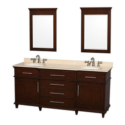 "Wyndham Collection - Wyndham Collection 72"" Berkeley Dark Chestnut Double Vanity w/ Ivory Marble Top - If your bathroom's asking you for a facelift, the Berkeley is a worthy choice. At once elegant, classic and contemporary, the Berkeley vanity lends an air of sophistication and charm to any bathroom, from a Soho penthouse to a rustic country home. Carefully hand built to last for decades and finished in White or Dark Chestnut, this solid wood vanity is trimmed with brushed chrome hardware to compete the timeless look. Available in multiple sizes and finishes."