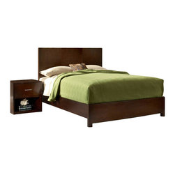 Modus Furniture - Modus Modera 5-Piece Panel Bedroom Set in Chocolate Brown - The combination of sleek lines, oversized drawers and quality construction make Madera from Modus the ultimate value statement in bedroom furniture.