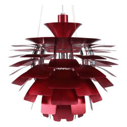 """LexMod - Petal 24"""" Chandelier in Red - Petal 24"""" Chandelier in Red - Elevate the heart and uplift the mind in a liberated release of light. The Petal Lamp is a study in perception stemming from the inner recesses of the soul. Reflect limitless possibilities and shower abundance as you diffuse light pleasantly with a striking classic for all times and settings. Set Includes: One - Petal Lamp - Silver, 24"""" For home or commercial use, Brushed aluminum petals, Light source hidden at center , Diffusion of light without glare, Cords adjustable to varied lengths , One 60 watt light bulb (Not Included) Overall Product Dimensions: 23.5""""L x 23.5""""W x 25.5""""H Maximum Cord length: 60""""L - Mid Century Modern Furniture."""