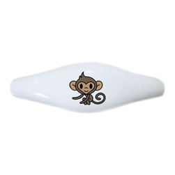 Carolina Hardware and Decor, LLC - Baby Monkey Ceramic Cabinet Drawer Pull Handle (Drawer Pull) - New ceramic cabinet, drawer, or furniture pull with mounting hardware included. Pull has standard three inch centers.  Can be wiped clean with a soft damp cloth. Great addition and nice finishing touch to any room!