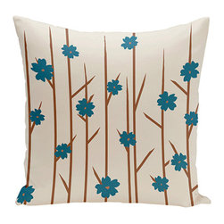 e by design - Floral Branches Off-White and Teal 18-Inch Cotton Decorative Pillow - - Decorate and personalize your home with coastal cotton pillows that embody color and style from e by design  - Fill Material: Synthetic down  - Closure: Concealed Zipper  - Care Instructions: Spot clean recommended  - Made in USA e by design - CPO-NR4-Branches_Flowers_Bisque_Teal-18