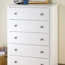 None - Winslow White 5-drawer Chest - Add a spacious five-drawer chest to any room and solve your clothing storage problem. Made of durable MDF and composite hardwood, this Winslow dresser features drawers that glide with ease, and the white finish blends well with other furniture.