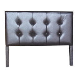 4D Concepts - 4D Concepts Blackstone Headboard in Brown - This well crafted rectangular faux leather shaped headboard is great for any queen size bed. The outside of the headboard is finished in a tufted designer style. The legs are finished in the rich pace fabric to match the headboard and are able to attach to most metal frames The rich brown PVC fabric that covers the rest of the headboard is an elegant presentation of the headboard. The rolled edges are just an added feature to this designer headboard. Constructed of wood and fabric. Clean with non abrasive dry cloth. Light Assembly required.