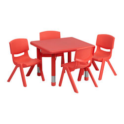 Flash Furniture - Flash Furniture 24 Inch Square Adjustable Red Plastic Activity Table Set - This table set is excellent for early childhood development. Primary colors make learning and play time exciting when several colors are arranged in the classroom. The durable table features a plastic top with steel welding underneath along with height adjustable legs. The chair has been properly designed to fit young children to develop proper sitting habits that will last a lifetime. [YU-YCX-0023-2-SQR-TBL-RED-E-GG]