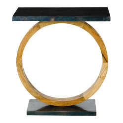 Arteriors - Caleigh Table By Arteriors - Round out your favorite room with this distinctive accent table. A mango wood base coupled with an oxidized black iron top, it's as much a work of art as a piece of furniture.