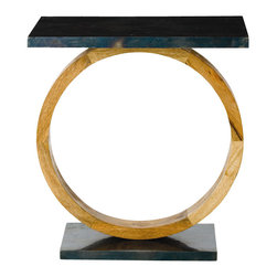 Arteriors - Caleigh Table - Round out your favorite room with this distinctive accent table. A mango wood base coupled with an oxidized black iron top, it's as much a work of art as a piece of furniture.
