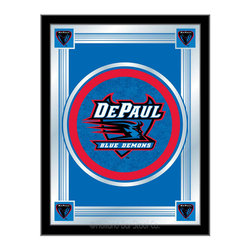 "Holland Bar Stool - Holland Bar Stool DePaul Logo Mirror - DePaul Logo Mirror belongs to College Collection by Holland Bar Stool The perfect way to show your school pride, our logo mirror displays your school's symbols with a style that fits any setting.  With it's simple but elegant design, colors burst through the 1/8"" thick glass and are highlighted by the mirrored accents.  Framed with a black, 1 1/4 wrapped wood frame with saw tooth hangers, this 17""(W) x 22""(H) mirror is ideal for your office, garage, or any room of the house.  Whether purchasing as a gift for a recent grad, sports superfan, or for yourself, you can take satisfaction knowing you're buying a mirror that is proudly Made in the USA by Holland Bar Stool Company, Holland, MI.   Mirror (1)"