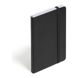 Poppin - Soft Cover Notebook, Black, Small - Keep your little black book — or play the field in a rainbow of colors. This notebook features 192 white ruled pages for your field notes, love poems and bright ideas, and it has an interior pocket, elastic closure and an orange bookmark so you know your place.