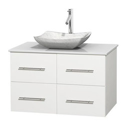 Wyndham Collection - 36 in. Single Bathroom Vanity in White, White Man-Made Stone Countertop, Avalon - Simplicity and elegance combine in the perfect lines of the Centra vanity by the Wyndham Collection . If cutting-edge contemporary design is your style then the Centra vanity is for you - modern, chic and built to last a lifetime. Available with green glass, pure white man-made stone, ivory marble or white carrera marble counters, with stunning vessel or undermount sink(s) and matching mirror(s). Featuring soft close door hinges, drawer glides, and meticulously finished with brushed chrome hardware. The attention to detail on this beautiful vanity is second to none.