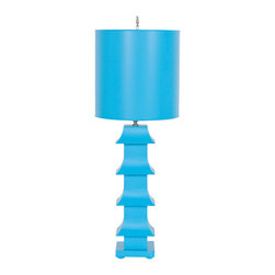 """Worlds Away - Worlds Away Turquoise Painted Tole Pagoda Lamp LMPHTU - Turquoise painted tole pagoda lamp with 11"""" dia painted tole shade. Ul approved for one 60 watt bulb."""