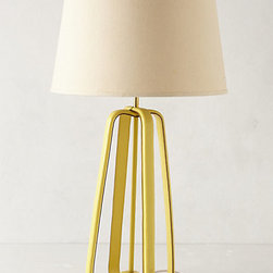 Anthropologie - Saddle Strap Lamp Base - Subtle and classy yet bold and bright, this Saddle Strap lamp sports my most favorite hue of yellow.