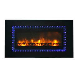 Yosemite Home Decor - Helios Blue - Contemporary wall mounted electric fireplace with a twist.  This rectangular unit is outlined with blue LED lights and the center is filled with realistic dancing flames. When the flames are turned off the entire face of the unit is a mirror.  This unit does not produce heat so it can be recessed into your wall for a more flush look.