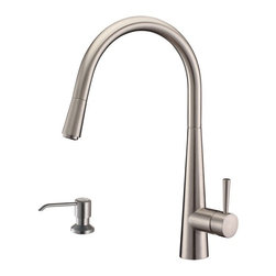 Ruvati - Ruvati RVF1221K1BN Pull-Down Kitchen Faucet with Soap Dispenser-Stainless Steel - This premium Ruvati kitchen faucet from the Cascada collection is constructed of solid brass giving it exceptional durability. The ceramic disc cartridge ensures drip-free functionality. The faucet can be installed into countertops up to two inches thick. Hot and cold water connection hoses are included.