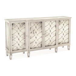 Kathy Kuo Home - Bonet Hollywood Regency Grillwork Antique White Mirrored Sideboard Buffet - Of all the tricks designers use to maximize space, the strategic use of lighting and mirrors ranks among the most popular and for good reason.  Mirrored sideboards and cabinets are a classic example of this approach - keeping clutter under control and amplifying existing light at the same time.  With a glazed white finish, this antique mirrored cabinet takes that principle to its ultimate manifestation - building light upon light.