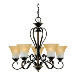 "Quoizel - Quoizel DH5005PN Duchess Traditional Chandelier - Indulge in classic European elegance for your home with this refined design fit for royalty. The hand-forged iron is twisted into graceful ""S"" curves, while the trumpeted shades celebrate the beauty of light with their warm gradation of color."