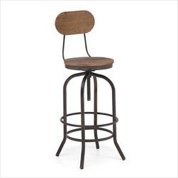 Twin Peaks Industrial Bar Chair - Based on the same mechanisms of drafters chairs in the early 1900′s, the Twin Peaks bar chair's adjustable gear mechanism allows a comfortable height for anyone. The top is solid Elmwood and the base and accents are antique metal.